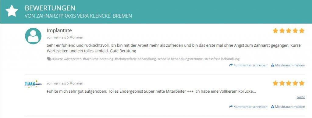Patientenbewertungen Zahnarzt Bremen