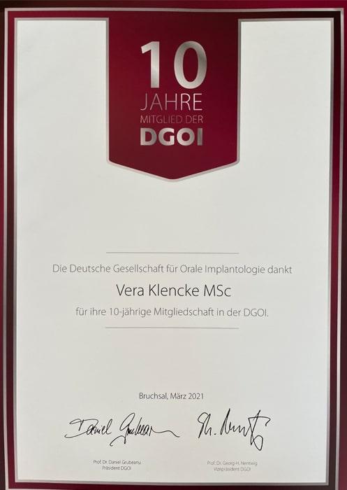 10 Jahre Mitglied DGOI Zahnarzt