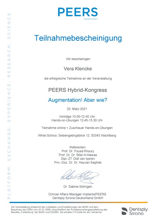 Zertifikat Zahnarzt Bremen